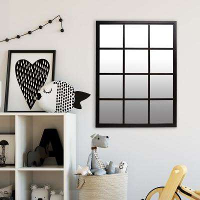Windowpane Rectangular Black Decorative Wall Mirror