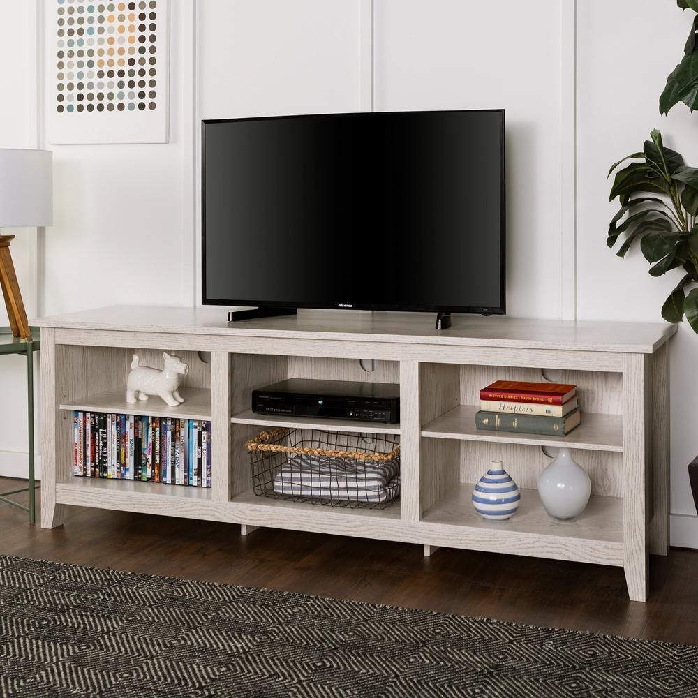 Walker Edison Furniture Company 70 In. Wood Media TV Stand Storage Console    White Wash