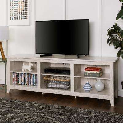 70 in. Wood Media TV Stand Storage Console - White Wash