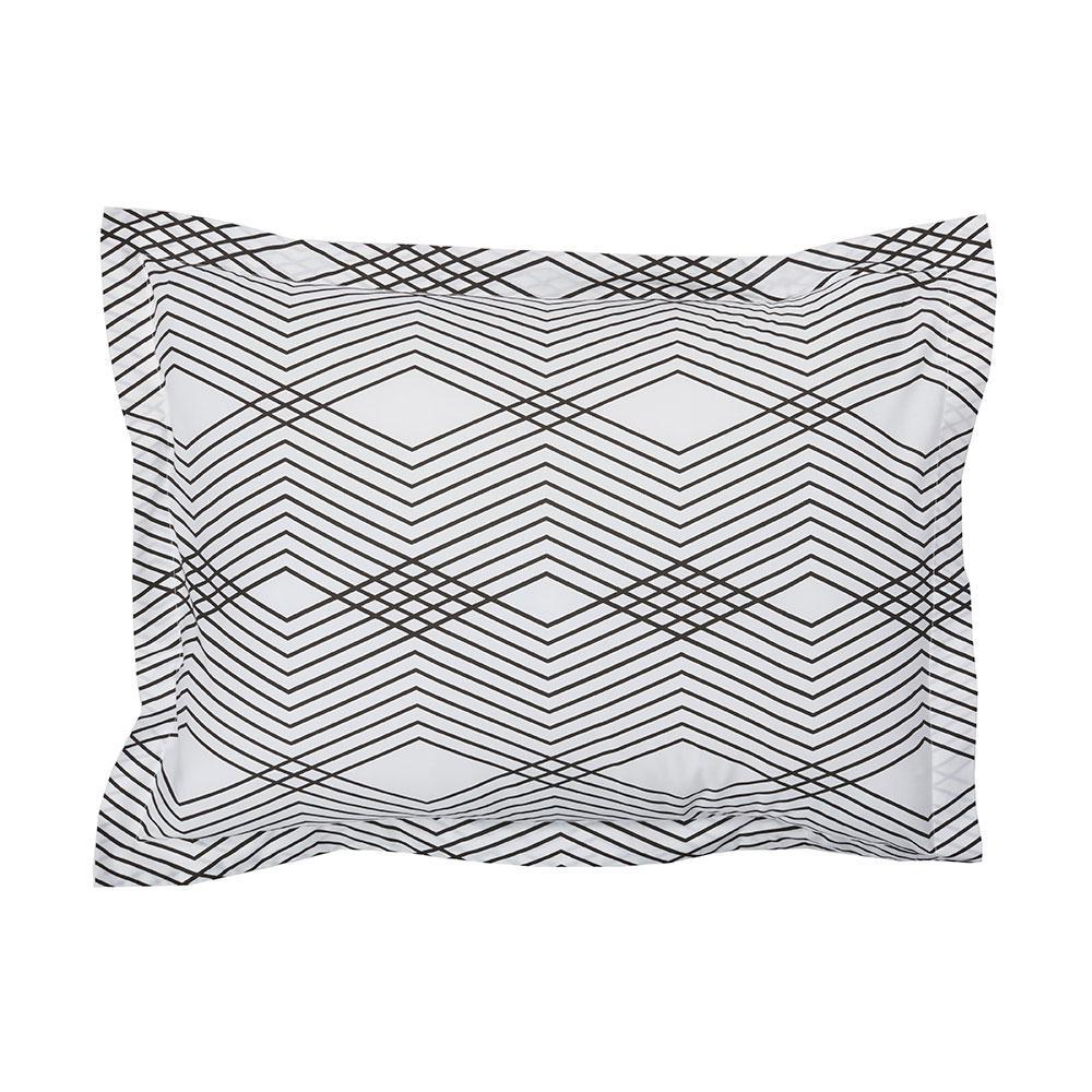 Wave Black/White Organic Cotton Percale King Sham, Multi