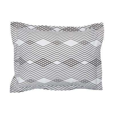 Wave Black/White Organic Cotton Percale King Sham
