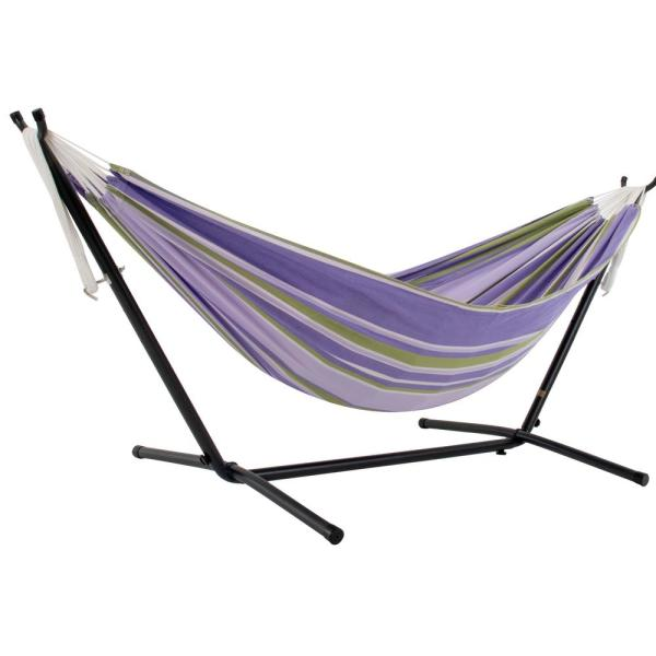 9 ft. Double Cotton Hammock Bed with Space Saving Steel Stand in Tranquility
