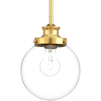 Penn 6.88 in. 1-Light Natural Brass Mini Pendant with Clear Glass