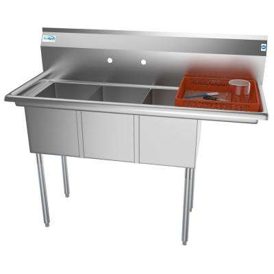 Freestanding Stainless Steel 51 in. 2-Hole Triple Bowl Commercial Kitchen Sink Right Drainboard