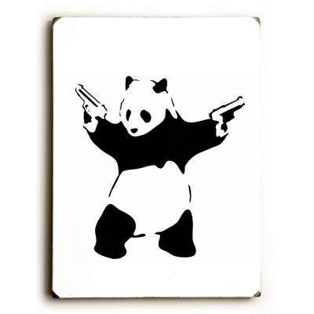 "9 in. x 12 in. ""Panda Guns"" by Banksy Solid Wood Wall Art"