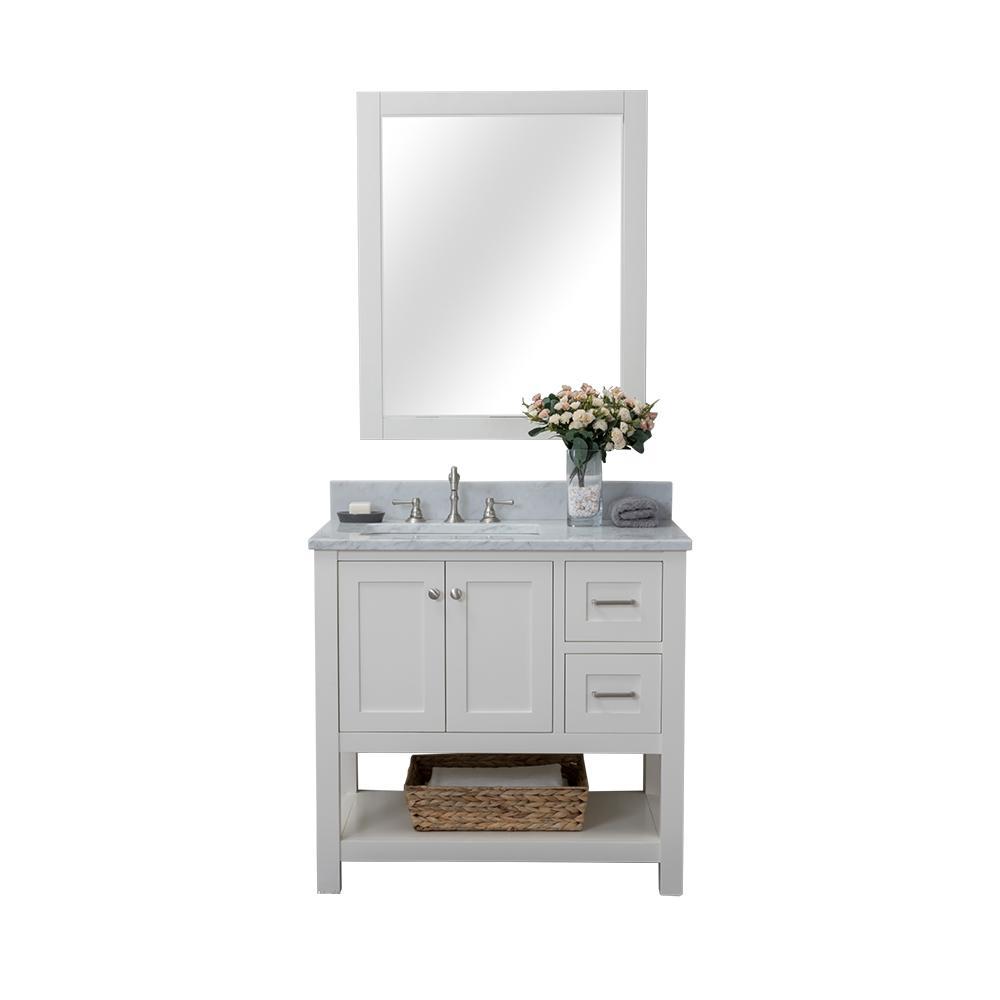 Wilmington 36 in. W x 34.2 in. H x 22 in. D Bath Vanity in White with Marble Vanity Top in White with White Basin