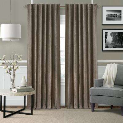 Elrene Leila SingleBlackout Window Curtain Panel in Dark Taupe - 52 in. W x 84 in. L