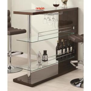 Coaster 43.5 inch Contemporary Cappuccino Bar with Stemware Rack by Coaster