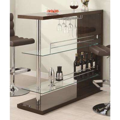 43.5 in. Contemporary Cappuccino Bar with Stemware Rack