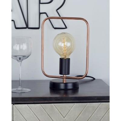 LITTON LANE 11 in. Rose Gold Square Frame Table Lamp with Bulb