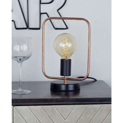 11 in. Rose Gold Square Frame Table Lamp with Bulb