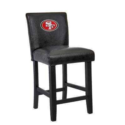 San Francisco 49ers 24 in. Black Bar Stool with Faux Leather Cover (Set of 2)