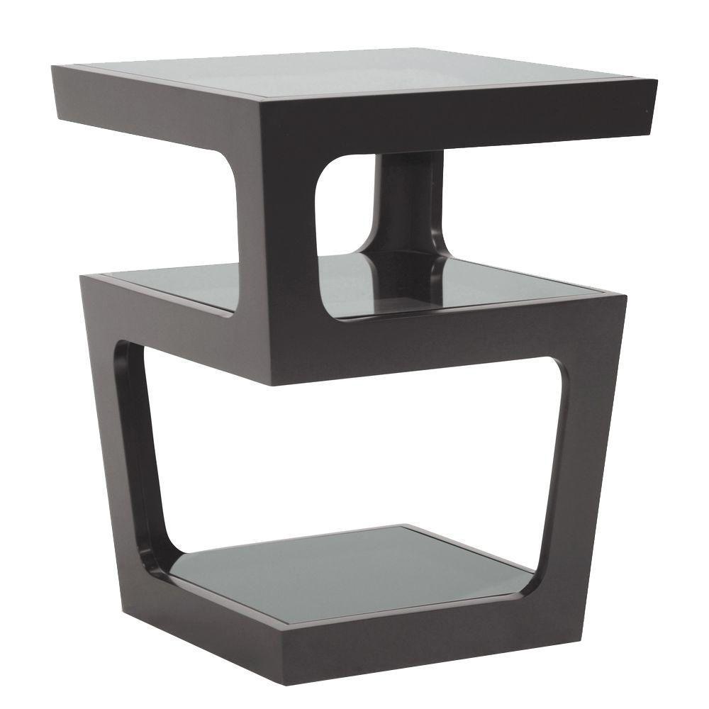 Baxton Studio Clara Black Glass Top End Table by Baxton Studio