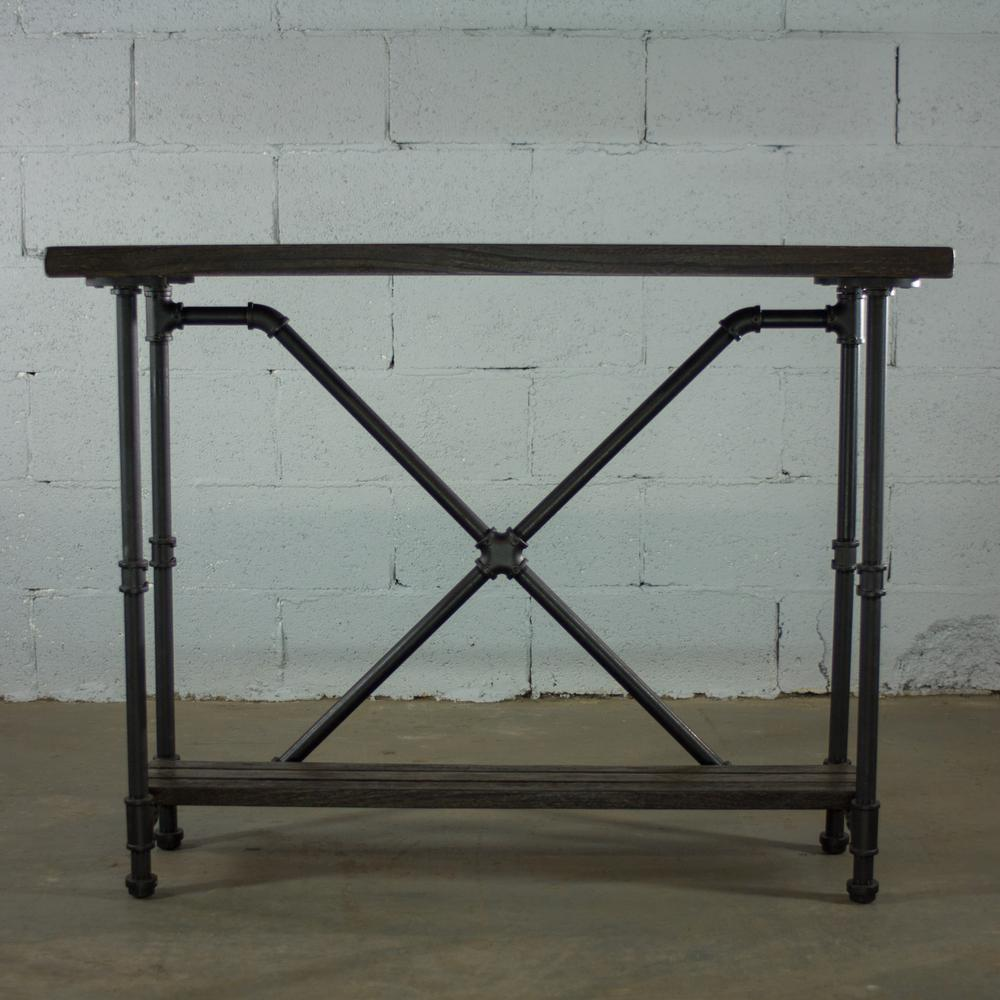 Black Steel Industrial Pipe 2-Tier Console Sofa Hall Table with Reclaimed