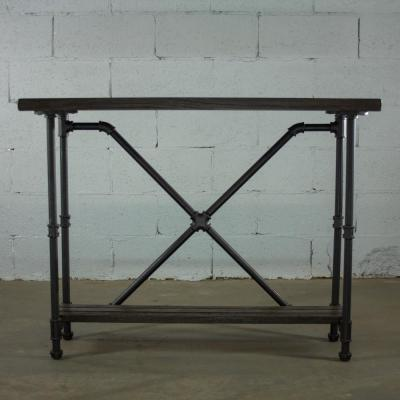 Black Steel Industrial Pipe 2-Tier Console Sofa Hall Table with Reclaimed Aged Wood