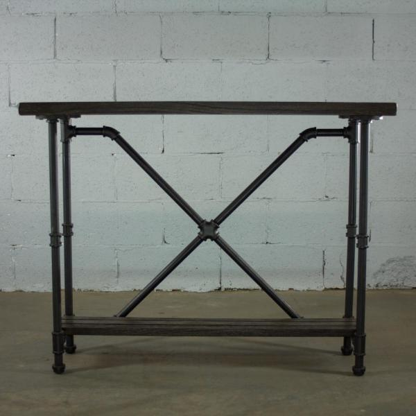 Black Steel Pipe 2 Tier Console Sofa Hall Table With Reclaimed Aged Wood