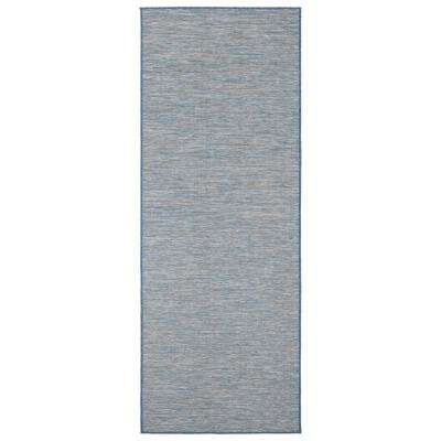 Sundance Collection Solid Blue 2 ft. 7 in. x 5 ft. Indoor/Outdoor Reversible Runner Rug