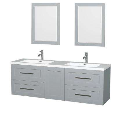 Olivia 72 in. W x 19 in. D Vanity in Dove Gray with Acrylic Vanity Top in White with White Basins and 24 in. Mirrors