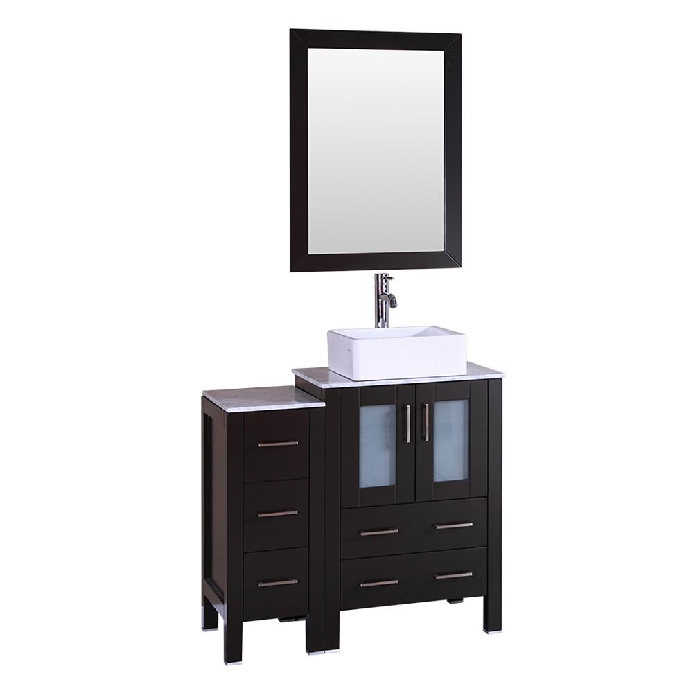 Bosconi 36 in. W Single Bath Vanity with Carrara Marble Vanity Top in Gray with White Basin and Mirror