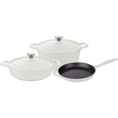 PRO 5-Piece Enameled Cast Iron Cookware Set with Saute, Skillet and Round Casserole in White