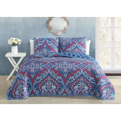 Cantara 3-Piece Blue Queen Quilt Set