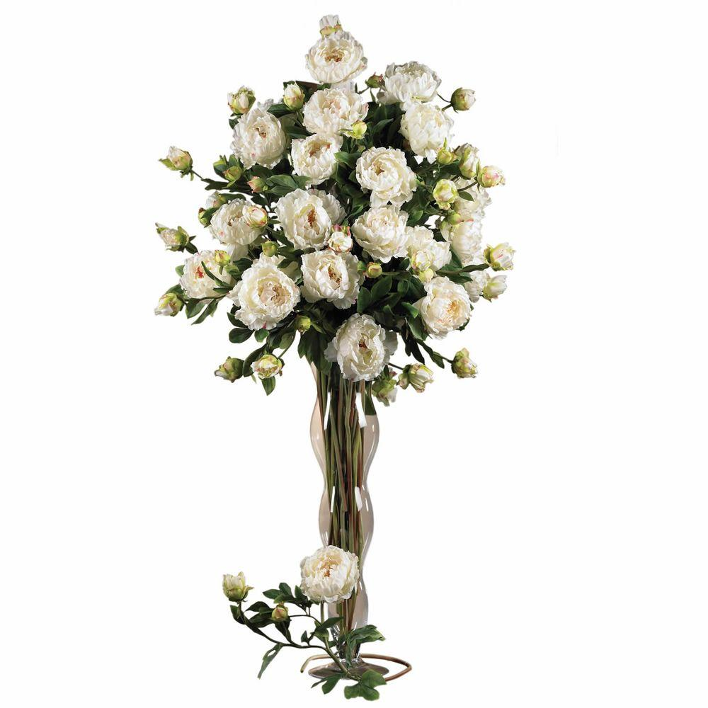 38.5 in. H White Peony with Leaves Stem (Set of 12)