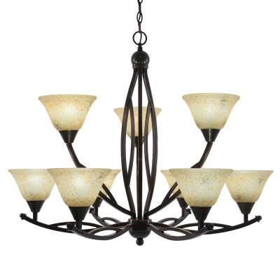 9-Light Black Copper Chandelier with 7 in. Italian Marble Glass