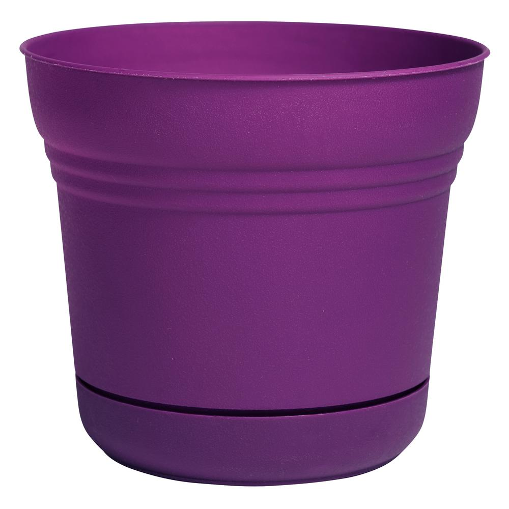 Saturn 10 in. Passion Fruit Plastic Planter