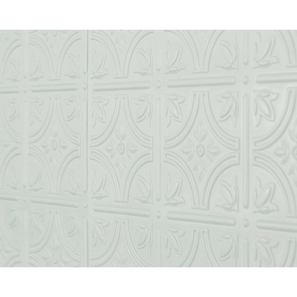 Empire 18.5 in. x 24.3 in. PVC Backsplash Panel in Snow White