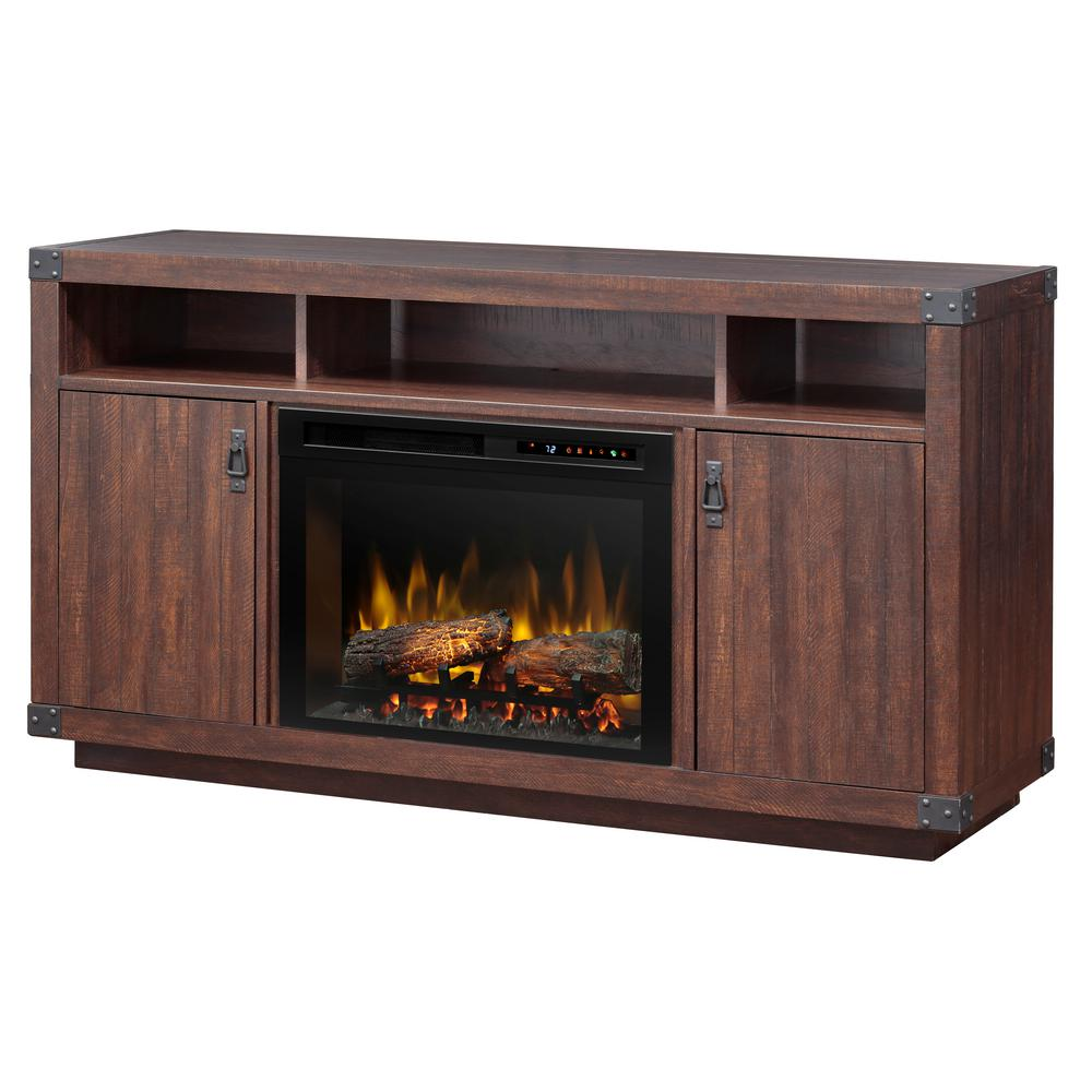 Dimplex Dale 59 in. Freestanding Media Electric Fireplace TV Stand Console in Grainery Brown