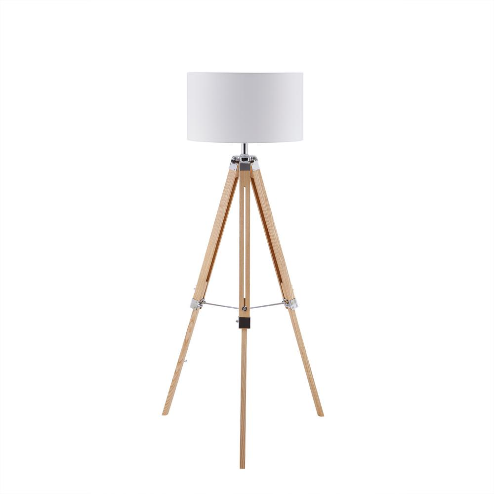 Southern Enterprises Fa 57 In Natural Brown Wood Floor Lamp With Tripod Base