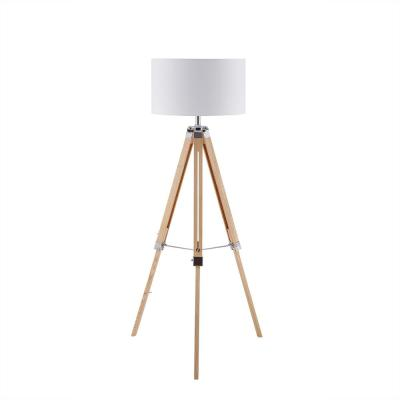 Frenta 57 in. Natural Brown Wood Floor Lamp with Tripod Base