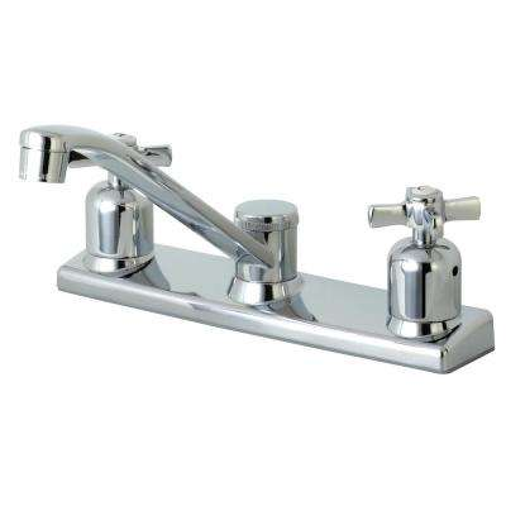 Modern Cross 2-Handle Standard Kitchen Faucet in Chrome