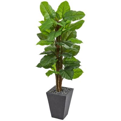 Real Touch 5 ft. Indoor Large Leaf Philodendron Artificial Plant in Slate Planter