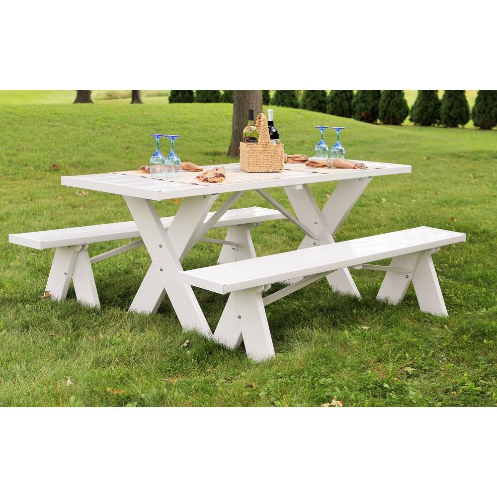 White Vinyl Table With Unattached Plastic Outdoor Patio Bench