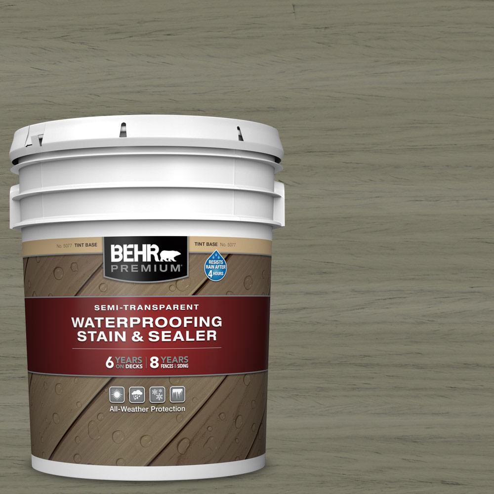 BEHR Premium 5 gal. #ST-144 Gray Seas Semi-Transparent Waterproofing Exterior Wood Stain and Sealer