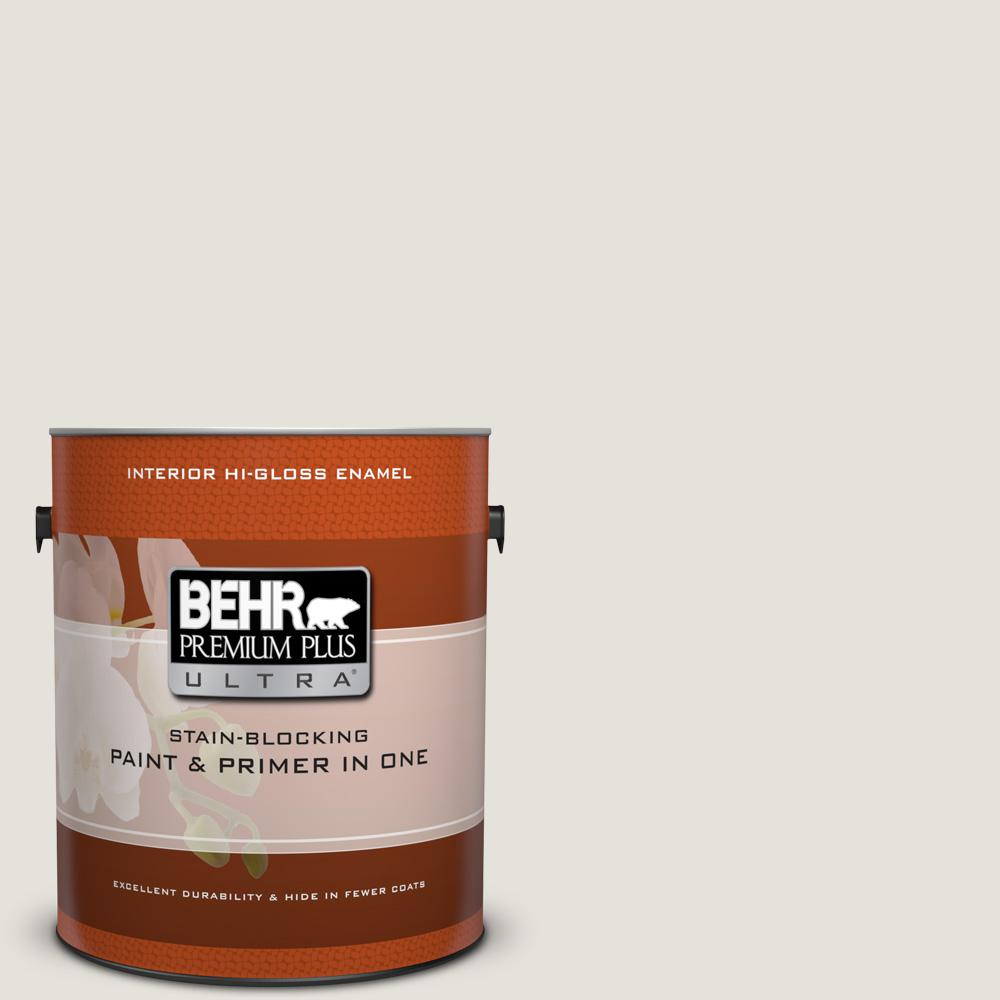 BEHR Premium Plus Ultra 1 gal. #HDC-NT-21 Weathered White Hi-Gloss ...