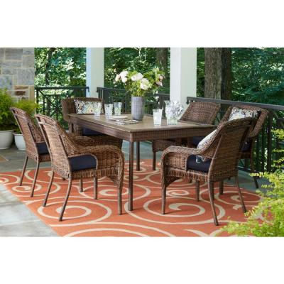 Cambridge 7-Piece Brown Wicker Outdoor Patio Dining Set with CushionGuard Midnight Navy Blue Cushions