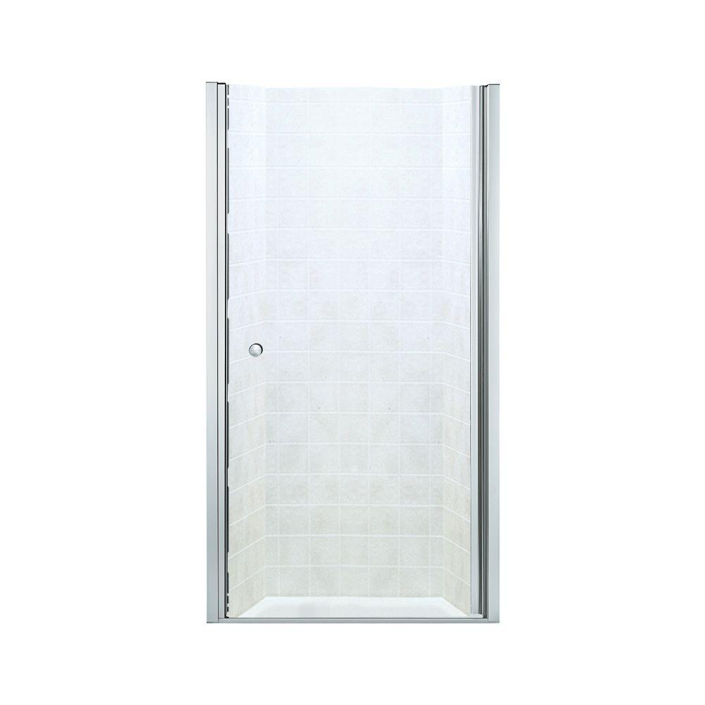 STERLING Finesse 36-1/2 in. x 65-1/2 in. Semi-Frameless Pivot Shower Door in Silver with Handle