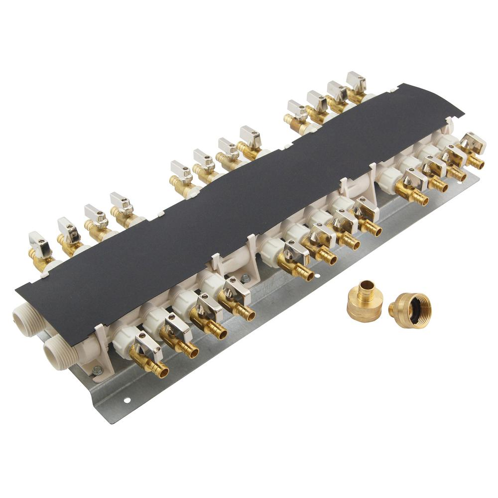 Apollo 24 Port PEX Manifold With 12 In Brass Ball Valves