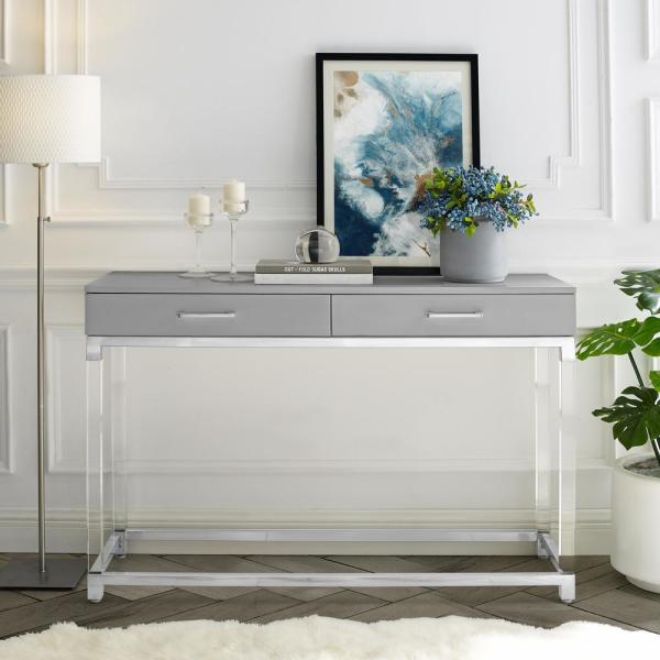 Caspian 48 in. Light Gray/Chrome Standard Rectangle Wood Console Table with Drawers