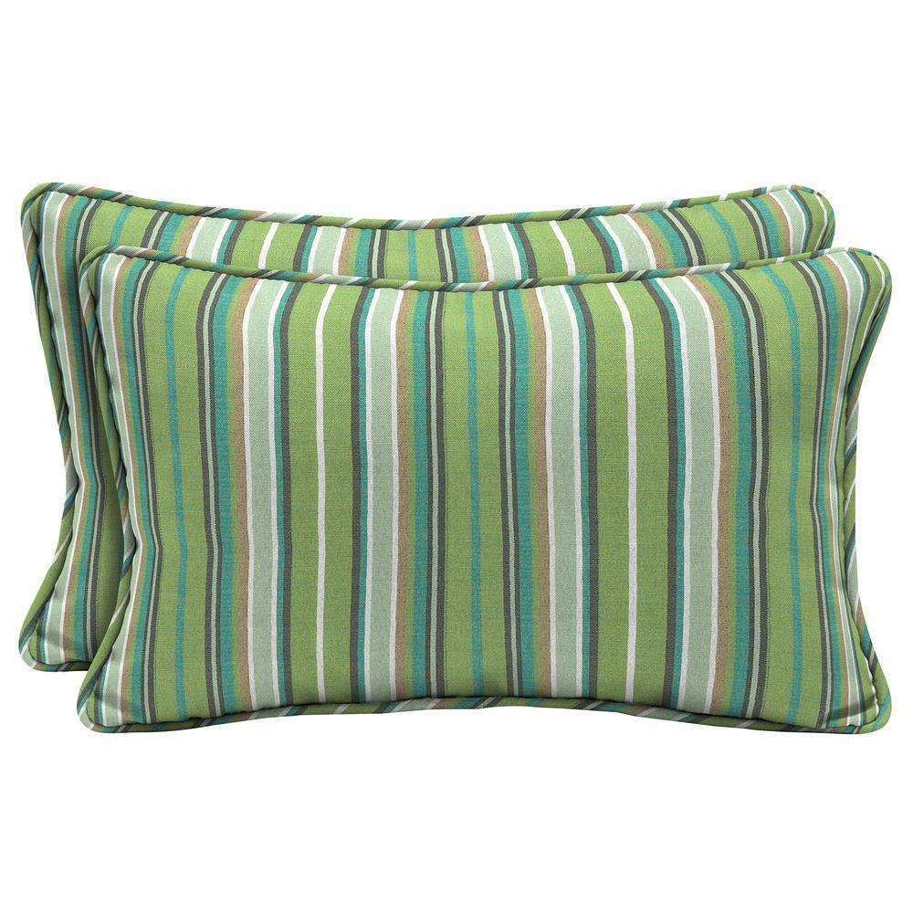 Home Decorators Collection Sunbrella Foster Surfside Lumbar Outdoor Throw Pillow (2-Pack)