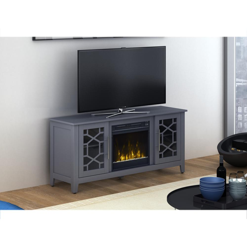 Add warmth and ambiance to your living space by selecting this Classic Flame Clarion Media Console Electric Fireplace in Cool Gray.