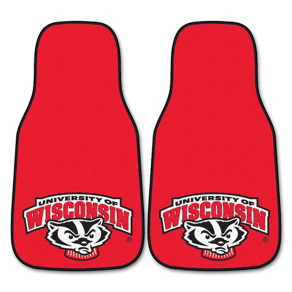 FANMATS University of Wisconsin 18 in. x 27 in. 2-Piece Carpeted Car Mat Set