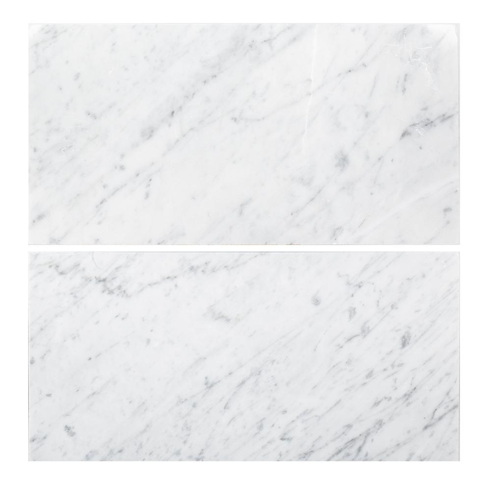 Carrara 6 in. x 12 in. Honed Marble Field Wall Tile