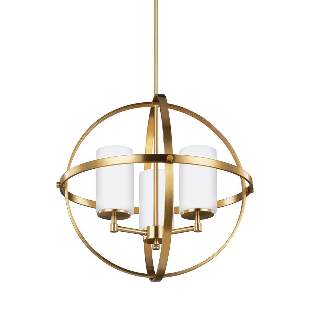 Alturas 3-Light Satin Brass Chandelier