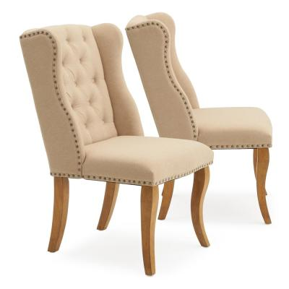 Avignon Beige Upholstered Tufted Dining Chair (Set of 2)