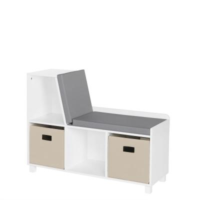 Kids White Storage Bench with Cubbies with Taupe Bins (2-Piece)