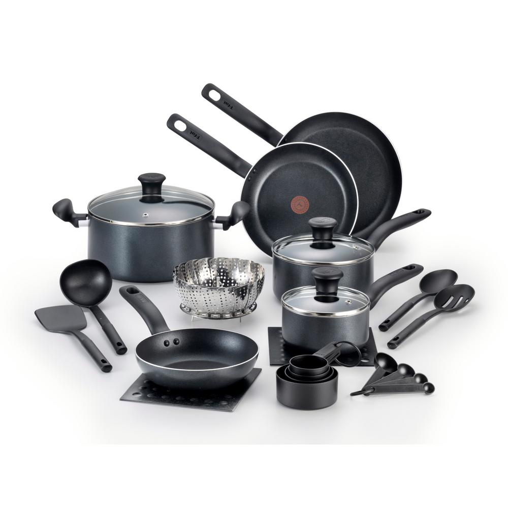 t fal initiatives 18 piece black cookware set with lids b167si94 the home depot. Black Bedroom Furniture Sets. Home Design Ideas