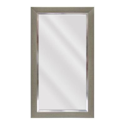 Large Rectangle Greywash With Silver Beveled Glass Contemporary Mirror (55.5 in. H x 31.5 in. W)
